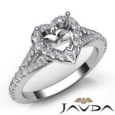 Heart Diamond Engagement 14k White Gold Halo Pave Setting Semi Mount Ring 0.5Ct