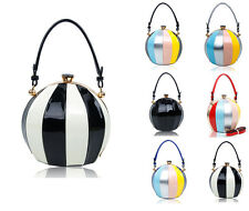 Ball Shape Shiny Leather Crystal Diamante Womens Shoulder Bag Clutch Handbag