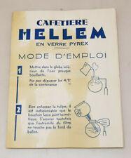 ancien Notice originale cafetière Hellem en verre pyrex vintage