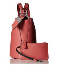 Calvin Klein Karsyn Leather Convertible Bucket Hobo Backpack Shoulder Bag Rose
