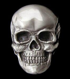 HUMAN SKULL BELT BUCKLE HIGHLY DETAILED COOL! BUCKLES