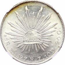 Mexico 8 Reales Zs 1897 F.Z. Zacatecas, NGC MS63. KM# 377.13