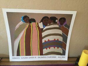 """LOUIS DE MAYO Signed Fine Art Gallery Navajo POSTER PRINT 22"""" x 19"""" Encinitas CA"""