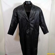 SPLIT END Long LEATHER Trench COAT Womens Size S small Black