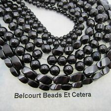 7 Strands Assorted Black Magnetic Beads Rounds, Twisted and Bicone Beads