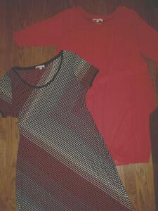 womens maternity XL Rosie Pope dress short sleeve lot burgundy multi pullover