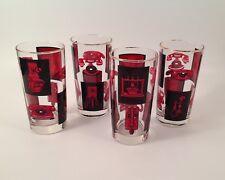 "Vintage Highball Glasses Black & Red TELEPHONES 5 1/2"" Tumblers Mid-Century Bar"