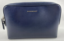 Authentic BURBERRY Navy Blue Leather Clutch Bag Pouch Pochette with Card Holders