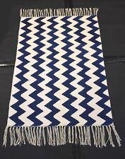 Hand-made Blue State Zick-Zeck Persian Block Print Fabric Kilim Rug Mat,