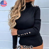 Womens Ladies Turtleneck Fitted Ribbed Long Sleeve Sweater Tops Jumper Pullover