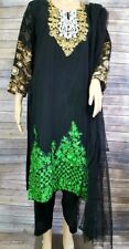 Black and Green Georgette Embroidered Salwar. Size 42. New. Free Shipping.