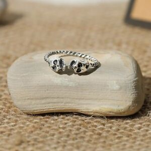Silver Plated Skull Ring + Canvas Gift Bag