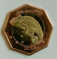 2013 SABA 10 DOLLARS CARIBBEAN NETHERLANDS Chameleon Bimetallic UNC Unusual Coin