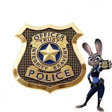 USA STOCK Zootopia Rabbit Judy Hopps Metal Police Badge Cosplay Prop Brooch