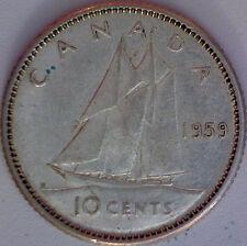 1959 Canada 10 Cent Silver Coin Queen Elizabeth II