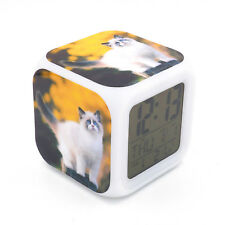 Ragdoll Cat Kitty Led Alarm Clock Creative Desk Digital Clock for Adult Kid Toy