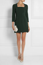 DOLCE & GABBANA Stretch-crepe mini dress dark green 44 US 8  UK 12 NWT