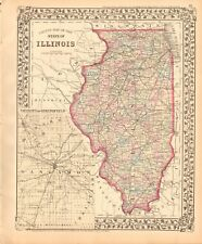 1874 ANTIQUE MAP - USA - ILLINOIS, VICINITY OF SPRINGFIELD