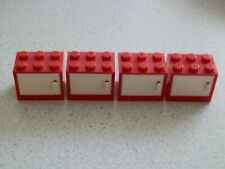 Lego 4532a+4533# 4x Container Box 2x3x2 Rot  Tür weiß