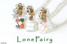 Miniature Mini Bottle Jar Chain Necklace Silver Bronze Keys Fruit Sweets Cards