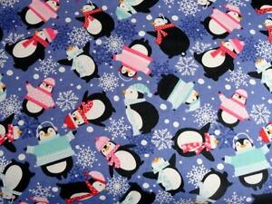 """PACK N PLAY COVER/FLANNEL/ LARGE (27X39"""") - PENGUINS IN SWEATER HATS SNOWFLAKES"""