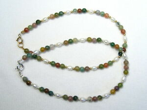 Genuine Indian Agate Gemstone /& Sterling Silver Anklet Made to Measure