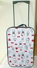 NWT HELLO KITTY Sanrio white luggage rolling suitcase wheels Japan import