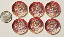"6 Miniature dollhouse Christmas Paper plates  Barbie 1/12"" Tree Bunnies"