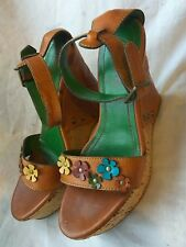 MISS 60 SIXTY LEATHER SANDALS PLATFORM BROWN SUMMER WEDGE SHOES SIZE UK 5 38