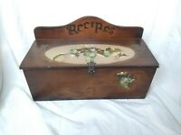 Vintage Wooden Recipe Box Hand Painted Grapevine Design Country Kitchen Decor
