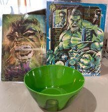 Incredible Hulk lot, Lenticular Print, 2nd Print 8x9in., Bowl 6 in. diam. Loot