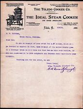1901 Toledo Cooker Co  - Steam Cooker -  GREATOhio Vintage Letter Head Rare