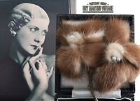 VINTAGE ART DECO 30s 40s MINK FUR LARGE FLOWER BROOCH PIN BRIDAL BEAUTIFUL GIFT