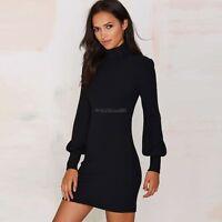 Women High Neck Winter  Shoulder Long Sleeve Sweater Jumper Knit Bodycon Dress