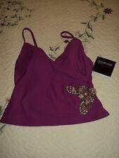 Newport News Swimsuit  Top sz 2 Hot Pink Beaded Sequins