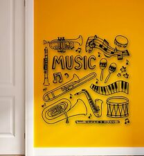 Wall Stickers Vinyl Decal Music Musical Instruments Drums Flute Trumpet (ig880)