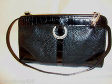 NWT BRIGHTON  Black Leather w/Patent Leather Accent, Shoulder HANDBAG