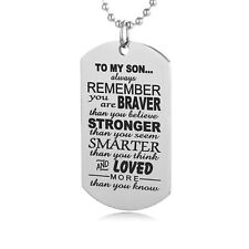 To My Son Always Remember Dog Tag Mens Pendant Necklace Military Army Style UK