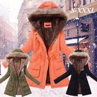 Winter Women's Hooded Jacket Warm Fur Collar Long Slim Outwear Parka Coat Thick