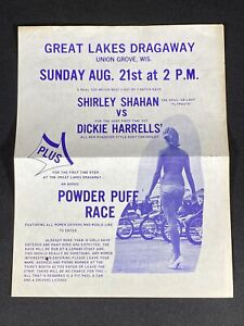 Vtg 1960's Great Lakes Dragaway Union Grove Wisconsin Drag Car Race Mailer Sign