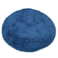 Round Navy Blue Cotton Tufted Absorbant Bathroom Shower Bath Rug Non Slip Mat
