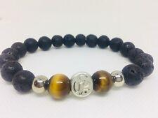 Tiger Eye And Lava Stone Men Bracelet