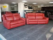 Furniture Village Tan/Red 2+3 Seater Sofas Leather Recliner Adjustable Headrests