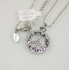 NWT lia sophia signed jewelry silver plated peace pendant crystal necklace chain