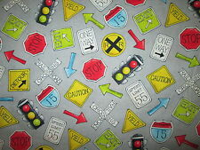 ROAD SIGNS CONSTRUCTION GRAY COTTON FABRIC FQ