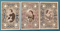 Set of 3 Beautiful Victorian Fashion Textile Patterned Postcards 85M