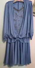 Vintage Crest Fashions Dress Size 14 Silvery Blue Long Slv W/Clear Beaded Trim
