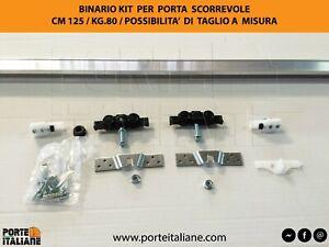 BINARIO portata KG. 80 KIT PER PORTA SCORREVOLE CM 120/130/140/150/180/200/250