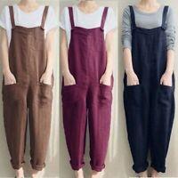 Jumpsuits Pants Plus Size Dungaree Playsuits Trouser Overalls Women cotton Linen