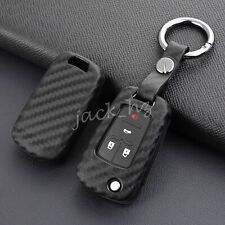 Flip Key Fob Case Cover Chain Ring Accessories For Chevrolet Buick Carbon Fiber